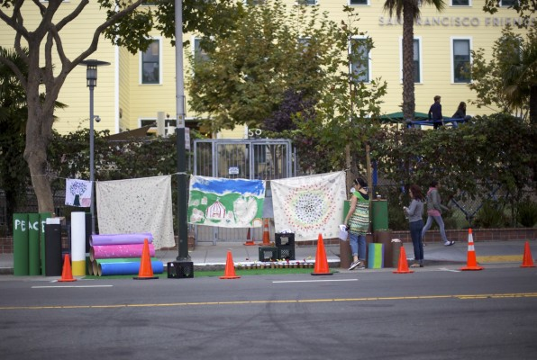 The temporary park built by 6th graders at San Francisco Friends School.