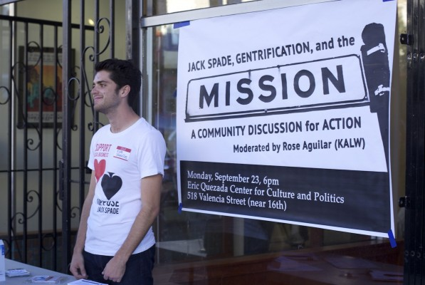 Kyle Smeallie stands outside of a community meeting to address gentrification at the potential arrival of Jack Spade on 16th Street.