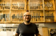 Bernal Cutlery owner Josh Donald, 40, has been sharpening knives professionally for 15 years.