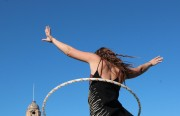 """Kelly Anderson spent Friday afternoon practicing a hula hooping performance in Dolores Park. """"The last BART strike affected me a lot. But this time, not so much."""""""