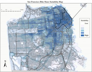 The SFMTA analyzes 11 factors to determine the suitability of bike share locations within the city. Map by SFMTA.