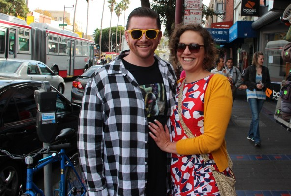 """Matthew (l) and Jeanne-Marie, Oakland and Tenderloin residents respectively, were in the Mission for a dance party at El Rio. They love the Mission because """"there's a certain level of grittiness, it still feels like a traditional family neighborhood."""""""