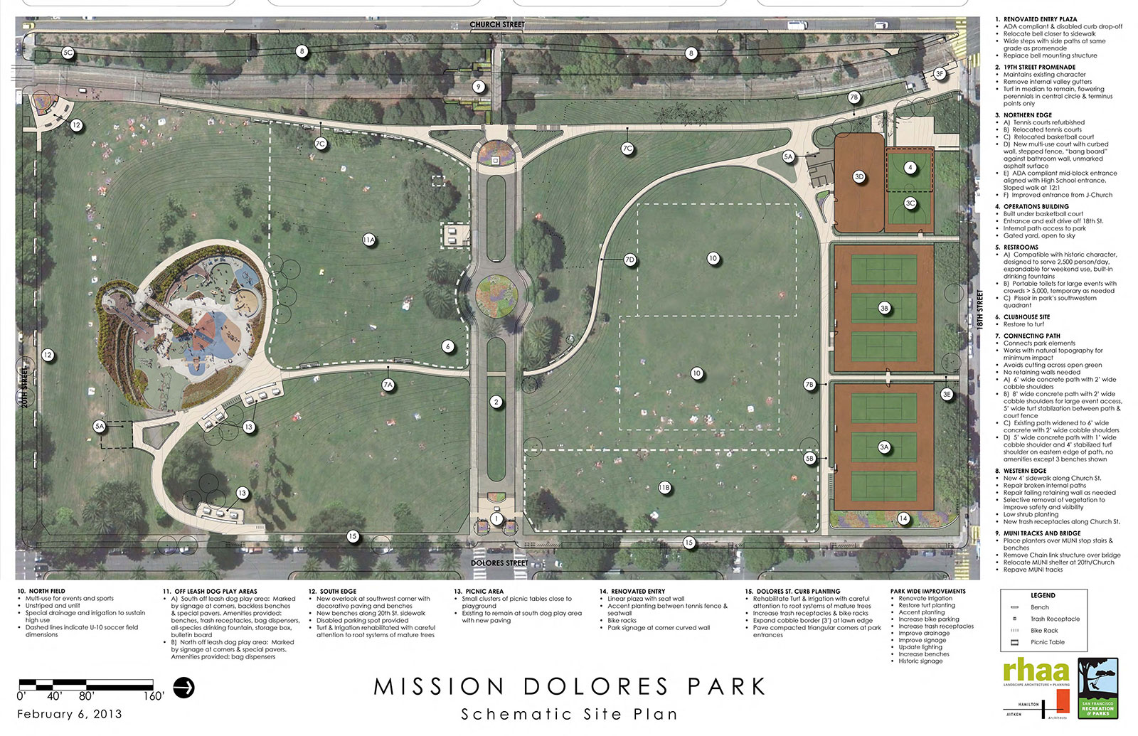 A map of planned improvements for Dolores Park. Courtesy San Francisco Recreation and Parks Department.