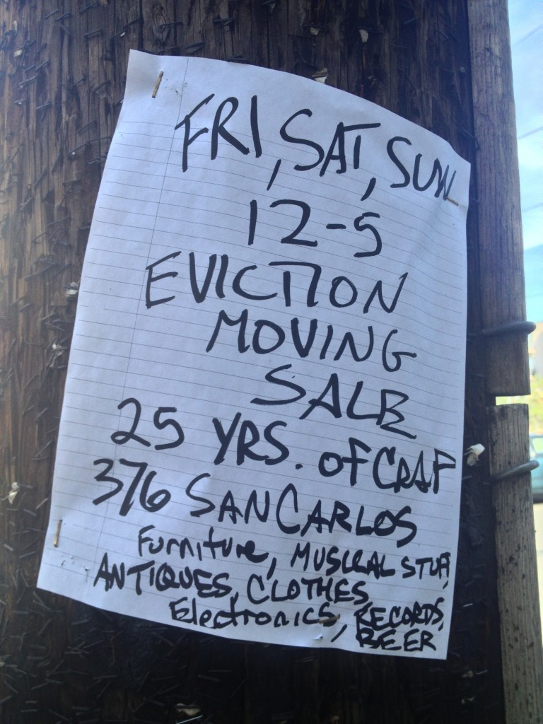Flier advertising an eviction yard sale.