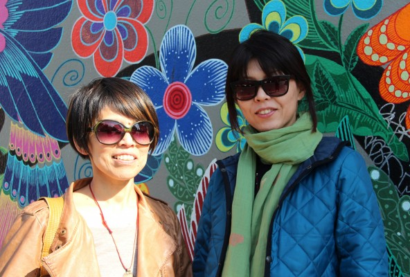 """During her first visit to San Francisco, Kumi Inaba (right) is staying with her friend Sachiko Willis (left), who brought her to see the Mission. Willis said she always brings friends to see the Mission because """"there is such a mixture of cultures and history in one place. I find it interesting."""""""