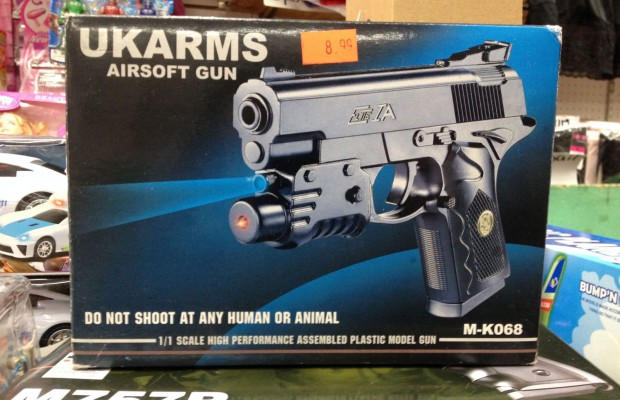 A BB gun on display at Golden Plaza market on Mission.
