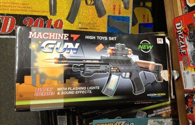 A plastic gun for sale at New Mission City store.