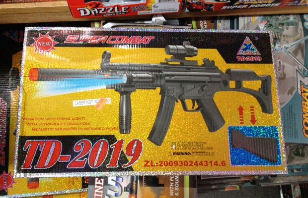A plastic gun for sale at the New Mission City store.