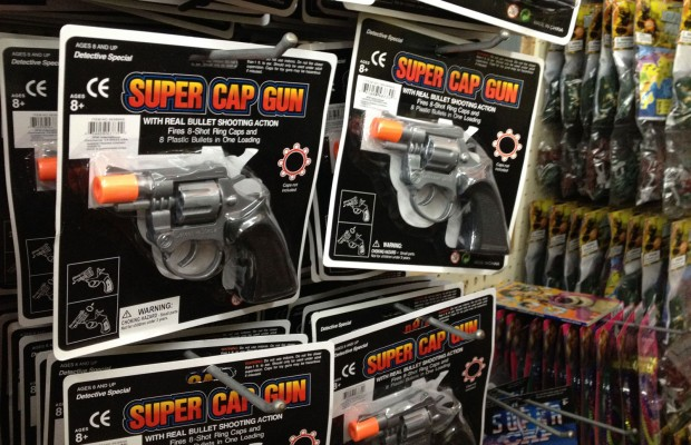 The plastic Super Cap Gun is available at most of the discount stores on Mission Street.