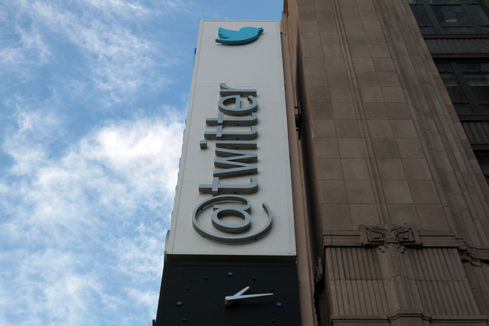 Twitter sign outside company headquarters