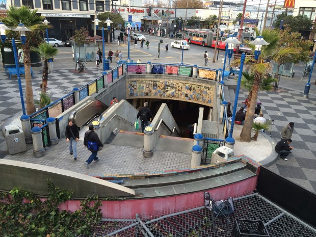 16th Street Mission BART plaza. Photo by Lynne Shallcross