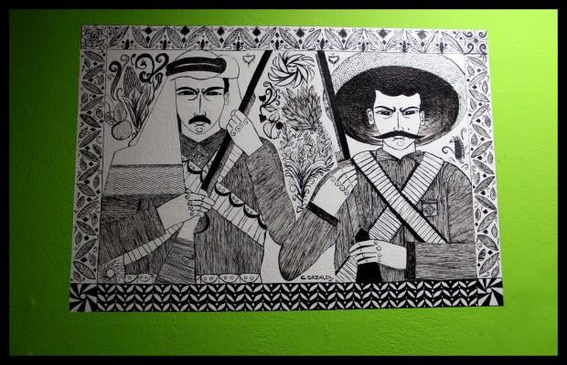 "Tech Mission features artist Chris Gazaleh's mural recreation of ""Long Live Zapata - Long Live Abd al Qadir al Husayni."" Photo: Sarah McClure"