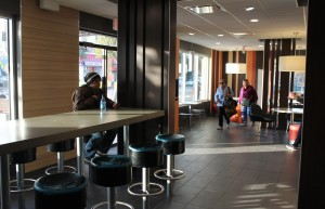 Lounge section of McDonald's at 24th and Mission following renovations.
