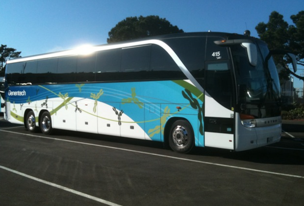 One of Genentech's already wrapped buses.