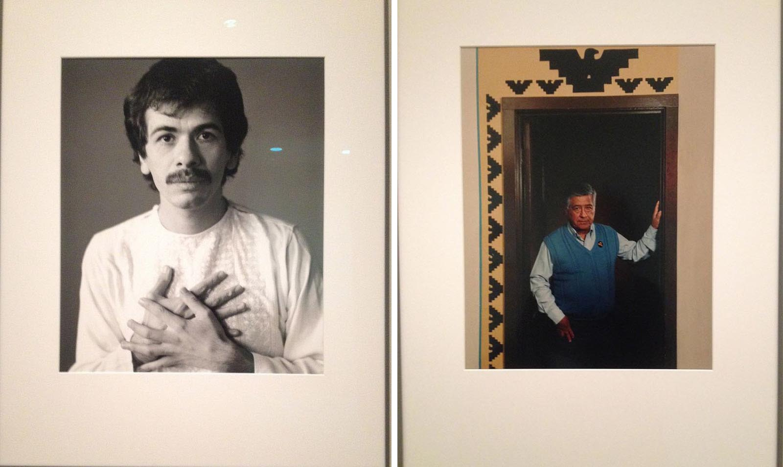 Carlos Santana, a graduate of Mission High School, and Cesar Chavez, who visited the Mission during different protests,  hang side by side at the Smithsonian Gallery of American Art