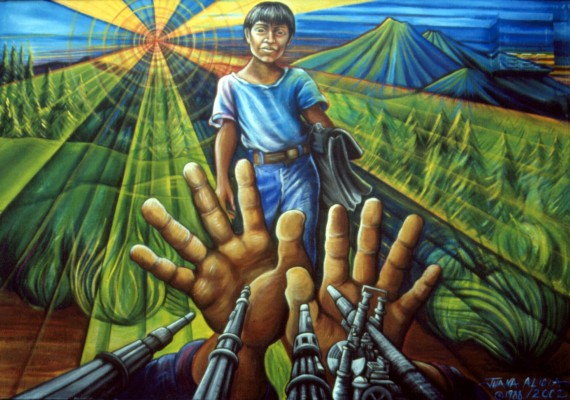 """What Juana Alicia's """"Alto Al Fuego/Ceasefire"""" mural looked like before vandals defaced it starting around Halloween."""