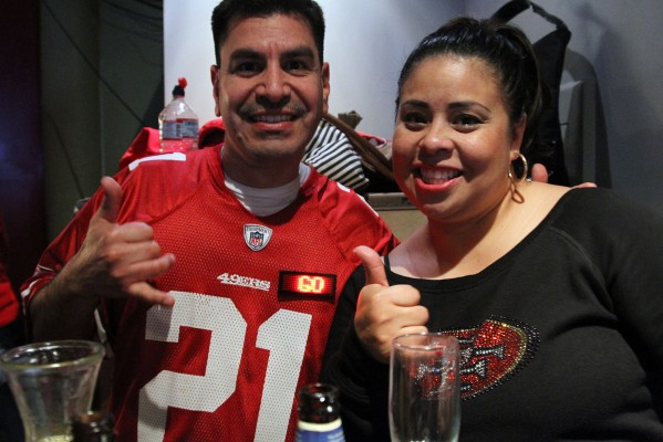 49ers fans show off their gear at Balancoire.