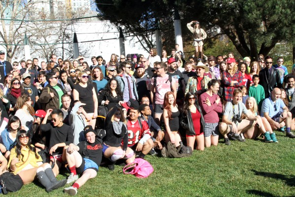 Hundreds of 20-somethings gather at Yerba Buena to celebrate No Pants! Subway ride.