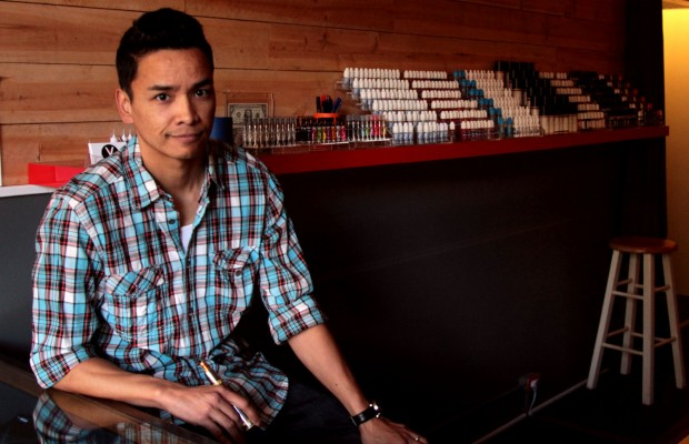 Alfie Reyes, owner of the Vapory Shop, the Mission's new e-cigarette store.