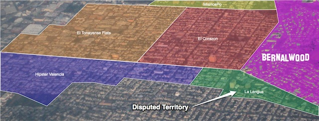 "One rendering of the area that encompasses ""La Lengua."" Map published on Burrito Justice"