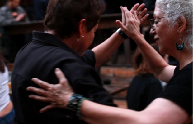 A couple dances at the Salsa Sunday benefit for Christina Olague at El Rio.