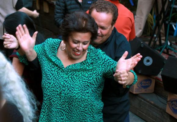 A couple dances at a benefit party for Christina Olague at El Rio.