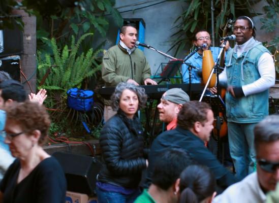 The band Vission Latina performs at El Rio's Salsa Sunday during a benefit for Christina Olague.