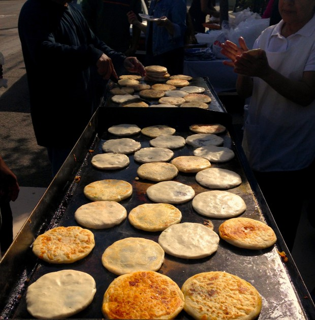 Freshly made pupusas by our friendly vecinos. Come and get them at 22nd St between Alabama and Florida. They are delicious!!!