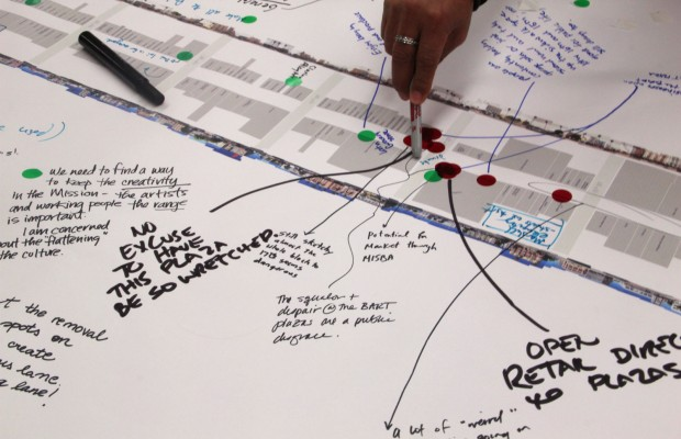 Detail of annotated Mission Street Map shows neighborhood concerns. Photo by Daniel Hirsch.