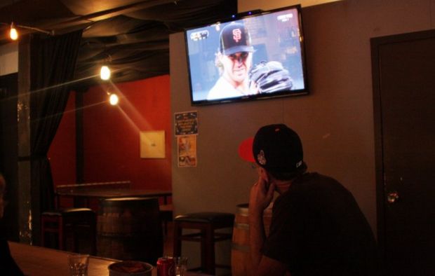 Other great things that have happened at Dear Mom: A fan watching Barry Zito pitch a World Series game. Photo by Rigoberto Hernandez