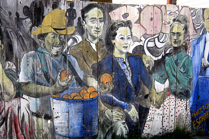 Icons of Mexican Art in Balmy Alley Mural by Hector Escarraman. Photo by Wally Gobertz