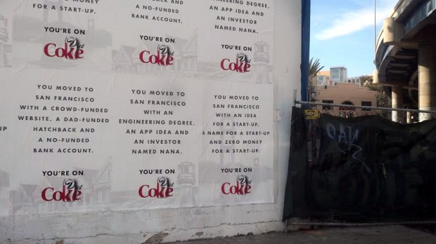Diet Coke ads cover a wall on Stevenson Street.
