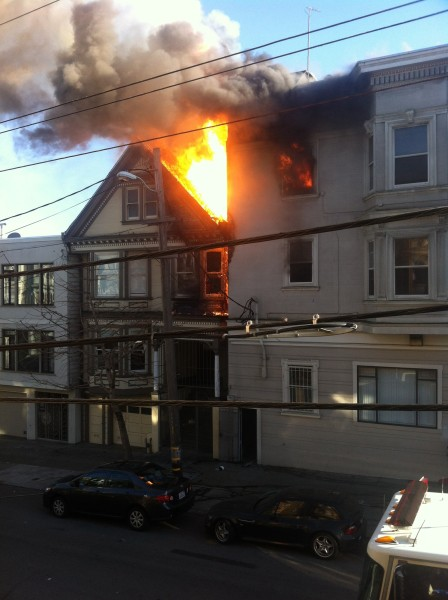 This photo was taken from our house across the street from the fire on 15th and Church. Photo by Gustavo Torres
