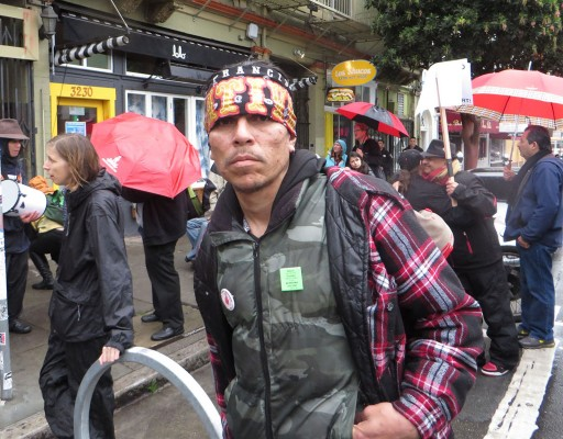 A protester during the march.
