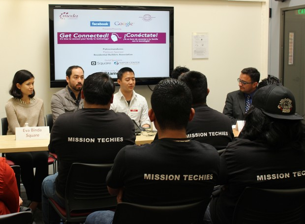 David Campos moderates a panel with speakers from the tech industry. Photo by Erica Hellerstein.