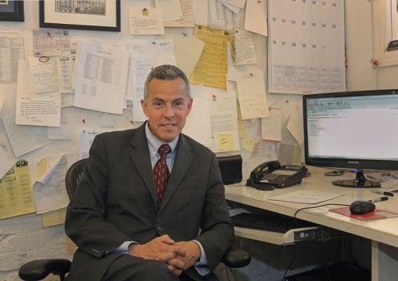 Santos at his desk.
