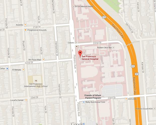 San Francisco General Hospital runs along Potrero Avenue from 20th to 24th Streets.