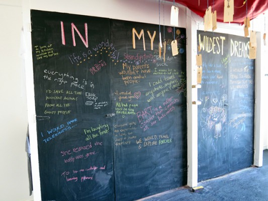 The Chalk board where questions are asked and answered.