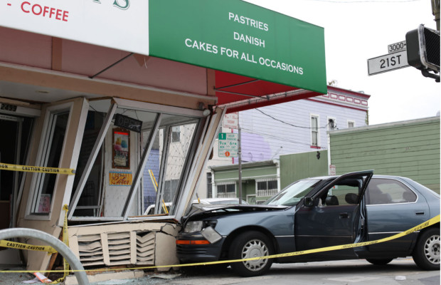 A Lexus smashed into Joey & Pat's Bakery on Folsom and 21st streets. Photo by Daniel Hirsch