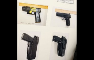 Side-by-side comparison created by SFPD of Taseer gun (left column) and standard fire arm (right column) presented during March community meeting.