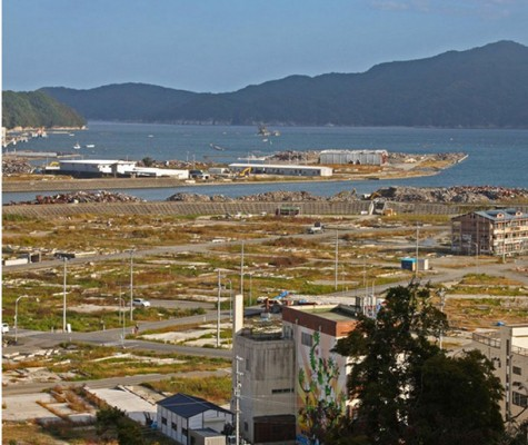 This was once the thriving village of Otsuchi. The buildings in the background were constructed to house recovery operations. Those in the foreground are awaiting demolition.