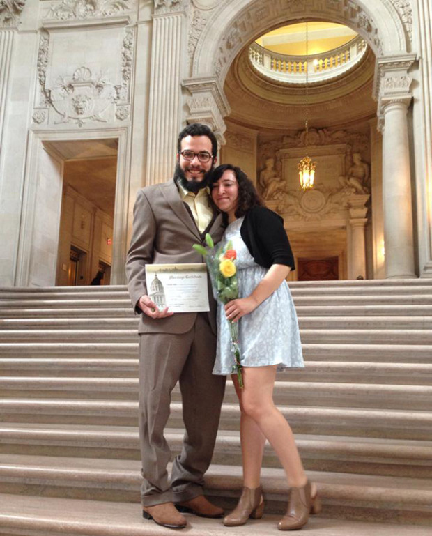 Victor Prado, a teacher, and Andrea Valencia, Mission Local's translator, got married  on Thursday and on Friday we celebrated with them. Congratulations to both.