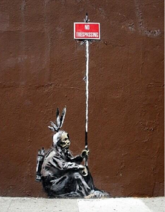 A known Banksy in the Mission, outside the Sycamore bar on Mission Street, close to 17th Street.