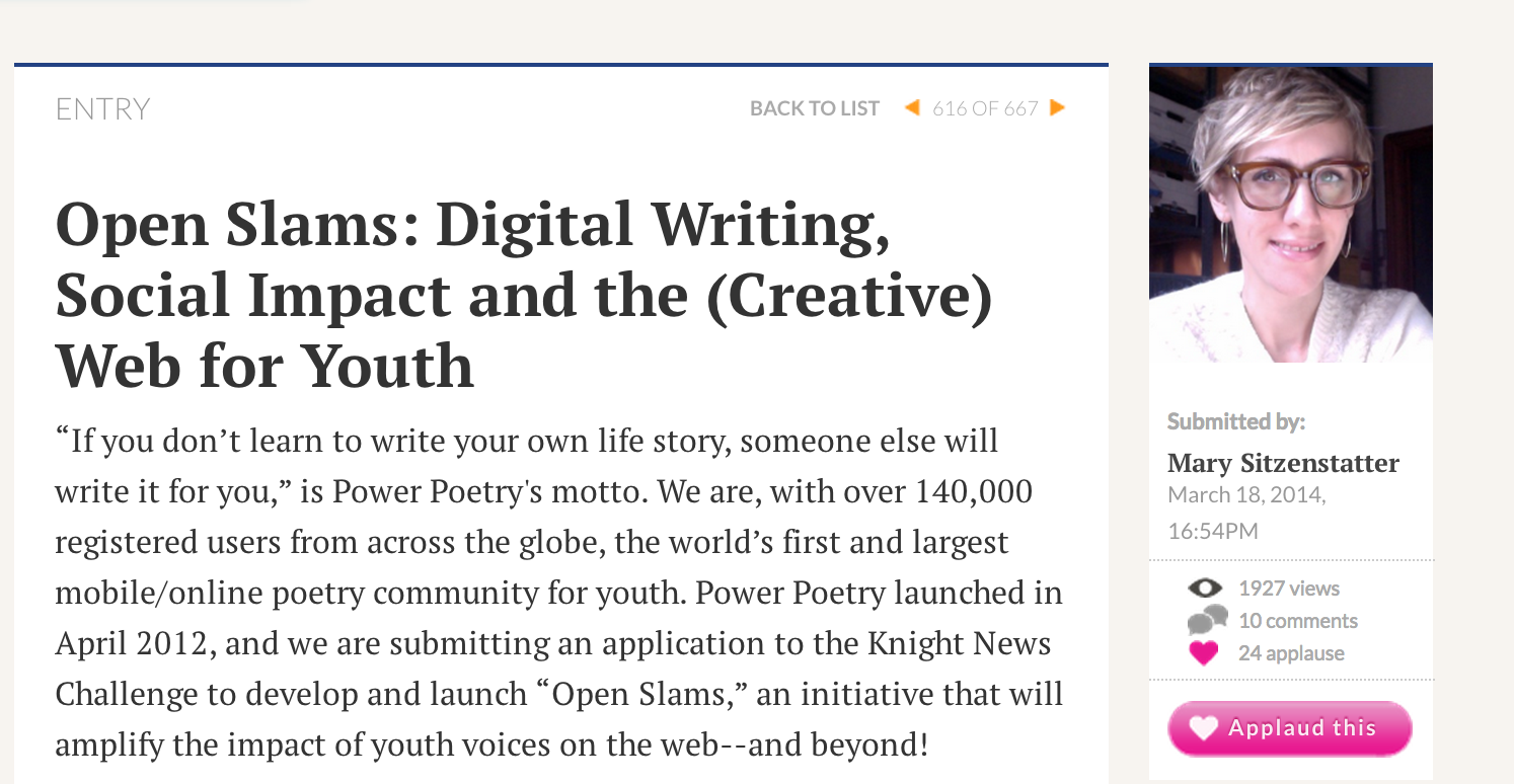 BAVC-Born Poetry Project Needs Some Help on Knight Initiative