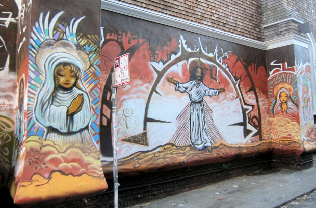 Mural by Mark Bode painted in 2009  on the side wall of Episcopal Church of Saint John the Evangelist, at 110 Julian Avenue.  Photo by Wallyg