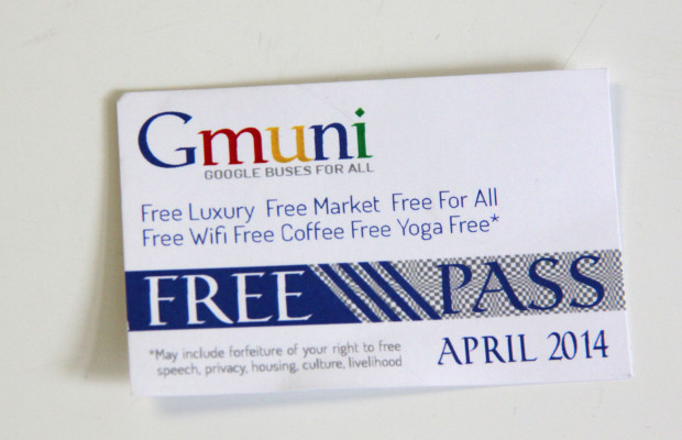 """""""Gmuni pass"""" handed out to protesters on April 1, 2014."""