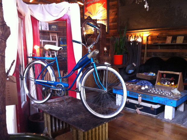 A Huffy model from the 1950s, recently rewired to have the integrated light fixture work properly.