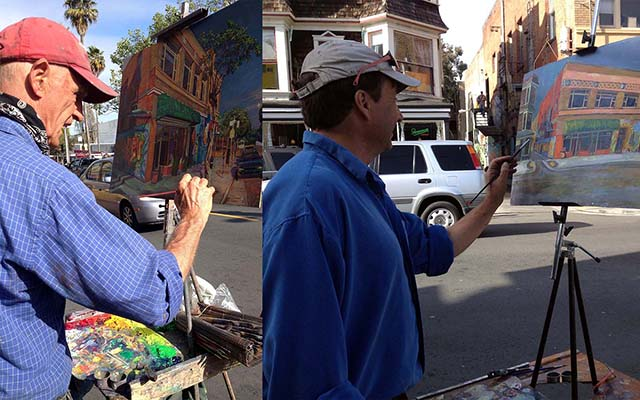 Anthony Holdsworth, left, painting on 24th Street last week with one of his students on the right.