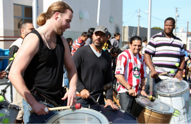 Drummers practice at John O'Connell High School Saturday. Photo by Jamie Goldberg