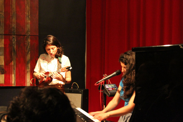 Carolyn Cardoza playing the ukelele and Irene Diaz at the keyboard singing from her recent EP I Love You Madly. Photo by Jasmine Koerber